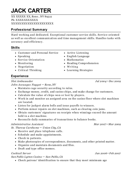 Slot Ambassador resume sample Nevada