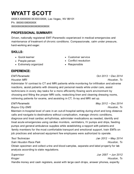 EMT Paramedic resume example Nevada