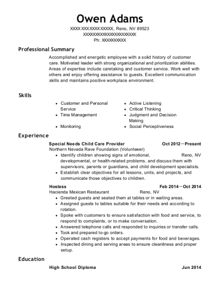 Special Needs Child Care Provider resume sample Nevada