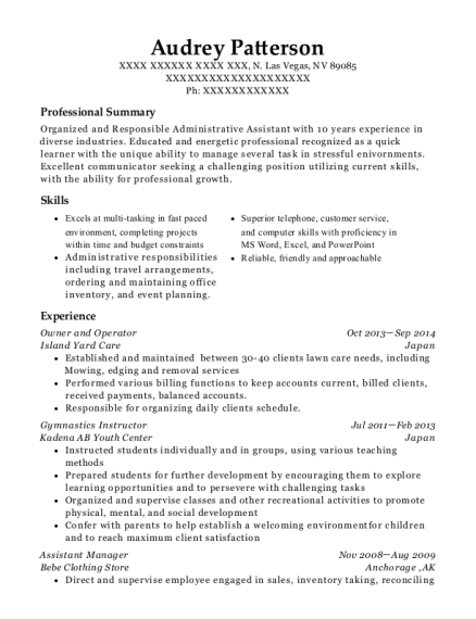 Owner and Operator resume format Nevada