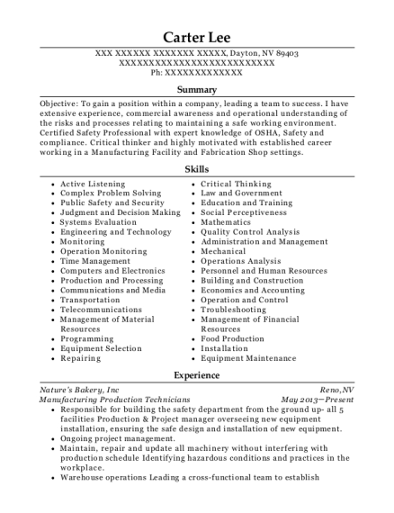 Manufacturing Production Technicians resume sample Nevada