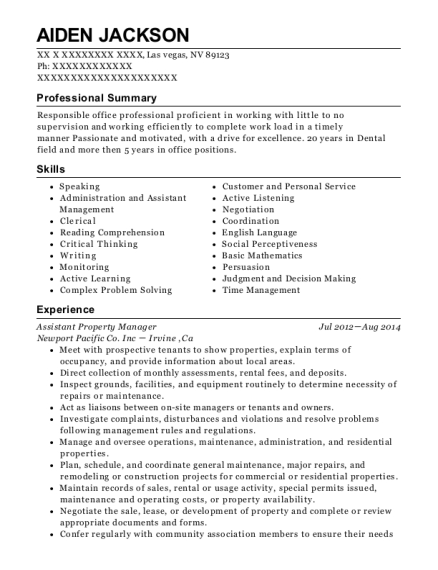 Assistant Property Manager resume template Nevada