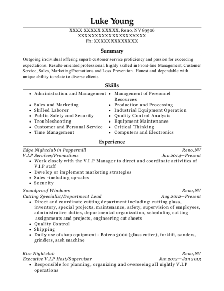 VIP Services resume template Nevada