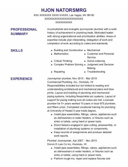 Journeyman Plumber resume example Nevada