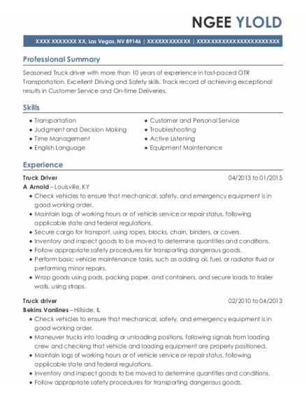 Truck Driver resume template Nevada