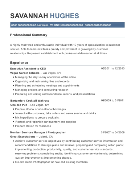 Executive Assistant to CEO resume example Nevada