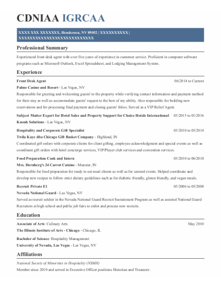 Front Desk Agent resume example Nevada