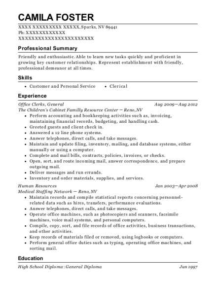 Office Clerks resume sample Nevada