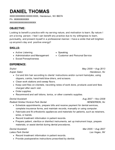 Stylist resume format Nevada