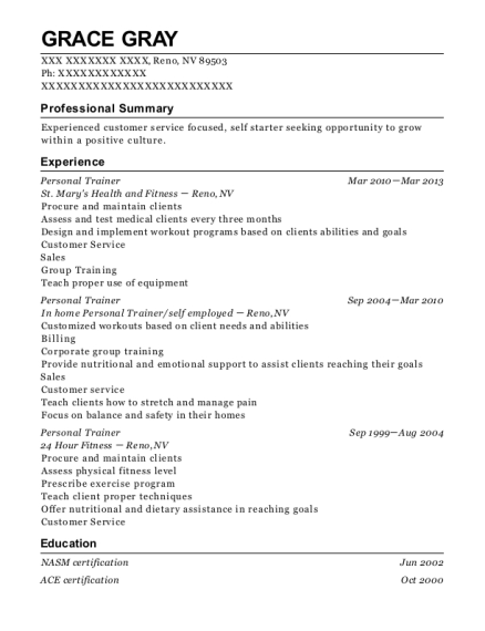 Personal Trainer resume sample Nevada