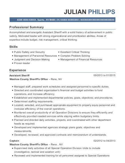 Assistant Sheriff resume format Nevada