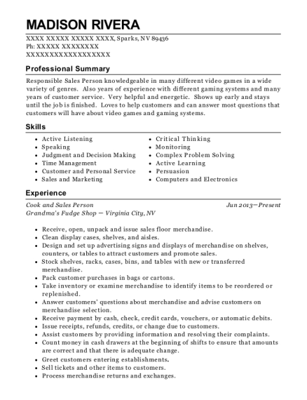 Cook and Sales Person resume template Nevada