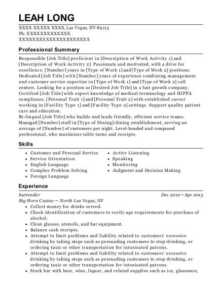 Bartender resume example Nevada