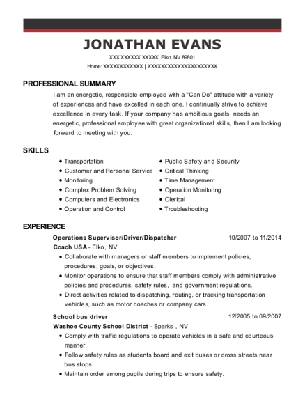 Operations Supervisor resume template Nevada