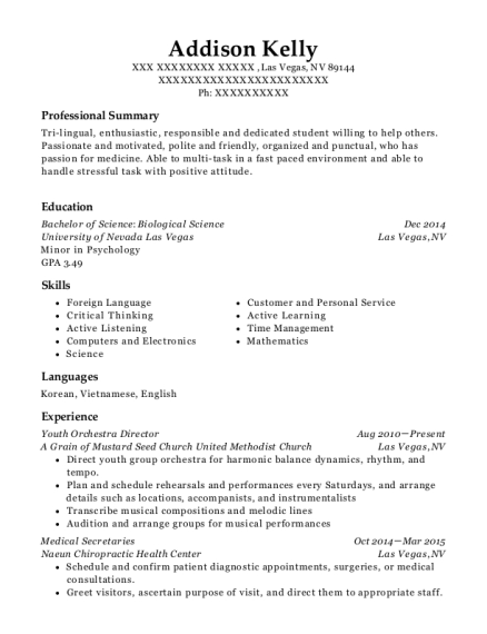 Youth Orchestra Director resume format Nevada