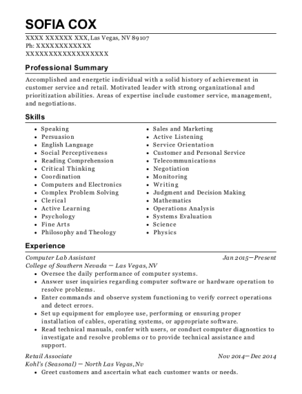 Computer Lab Assistant resume format Nevada