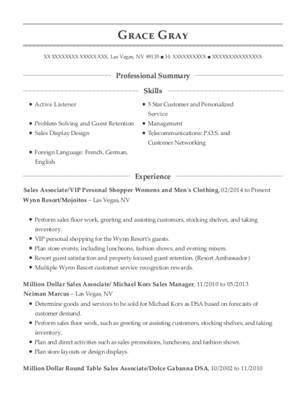 Sales Associate resume example Nevada