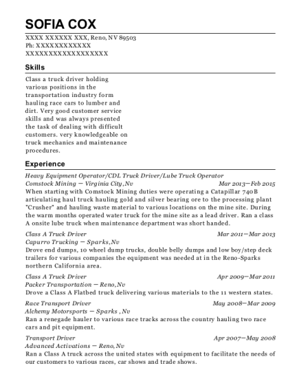 Heavy Equipment Operator resume example Nevada