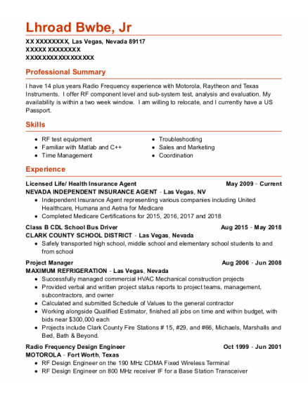 Project Manager resume sample NEVADA