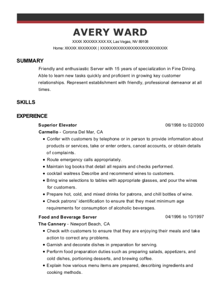 Superior Elevator resume sample Nevada