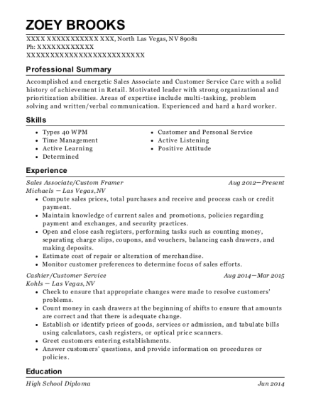 Sales Associate resume format Nevada