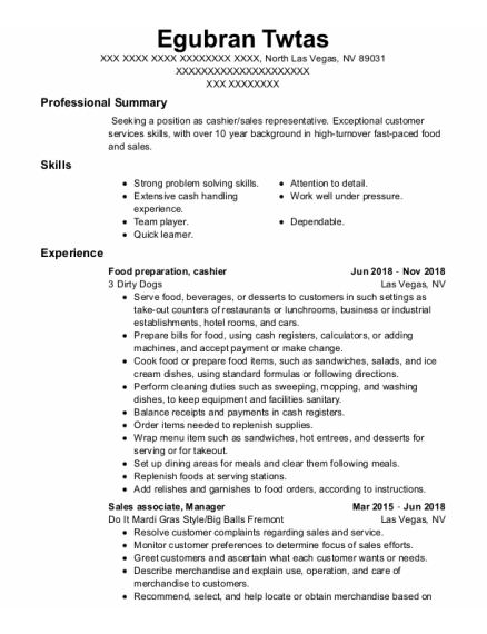Food Preparation resume sample Nevada