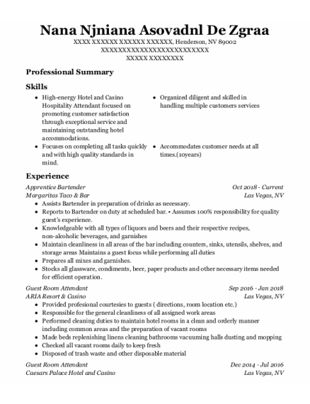 Guest Room Attendant resume template Nevada