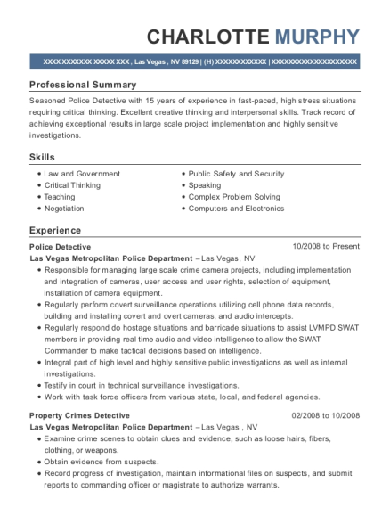Police Detective resume sample Nevada