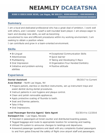 Dental Assistant resume sample Nevada