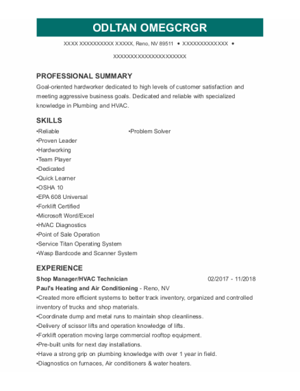 Shop Manager resume template Nevada
