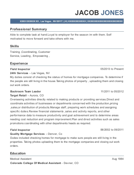 Field Inspector resume sample Nevada