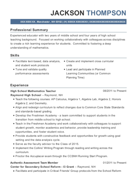 High School Mathematics Teacher resume template New Hampshire