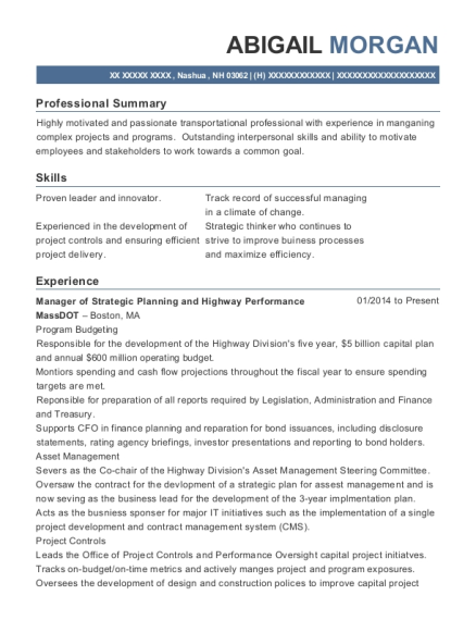 Manager of Strategic Planning and Highway Performance resume format New Hampshire