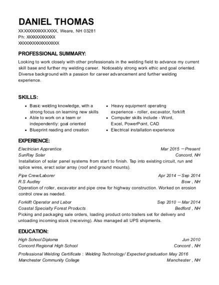 Electrician Apprentice resume example New Hampshire