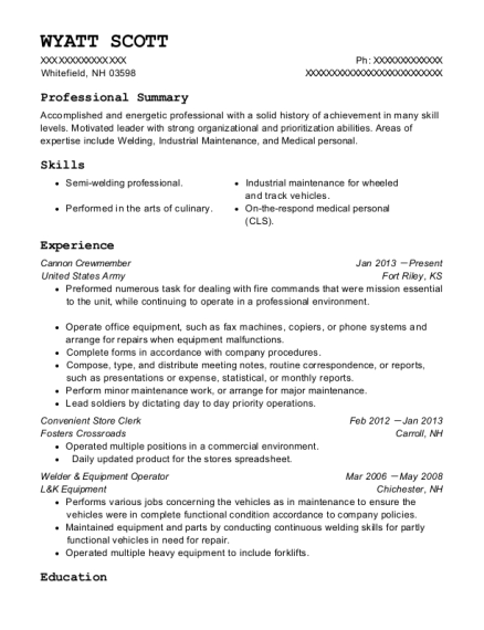 Cannon Crewmember resume format New Hampshire