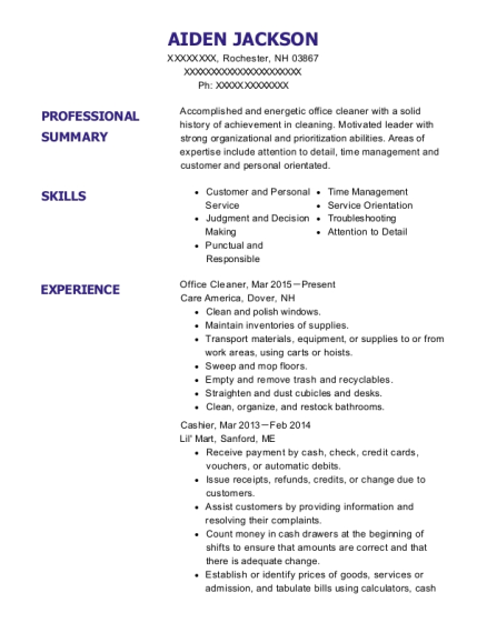 Office Cleaner resume template New Hampshire