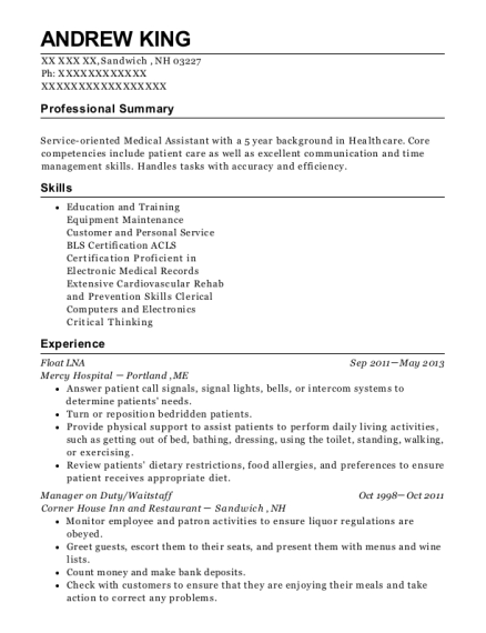 Float LNA resume template New Hampshire