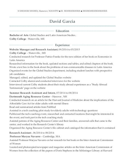 Website Manager and Research Assistant resume template New Hampshire