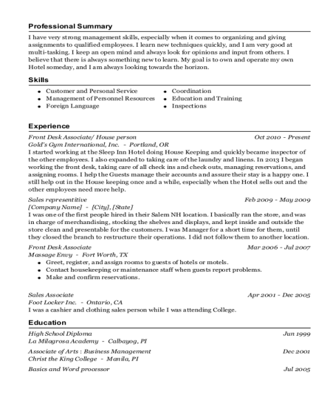 Front Desk Associate resume template New Hampshire