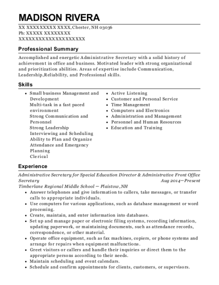 Administrative Secretary for Special Education Director & Administrative Front Office Secretary resume sample New Hampshire