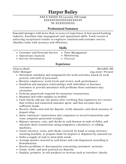 Teller Manager resume format New Hampshire