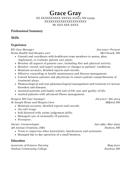 RN Case Manager resume format New Hampshire