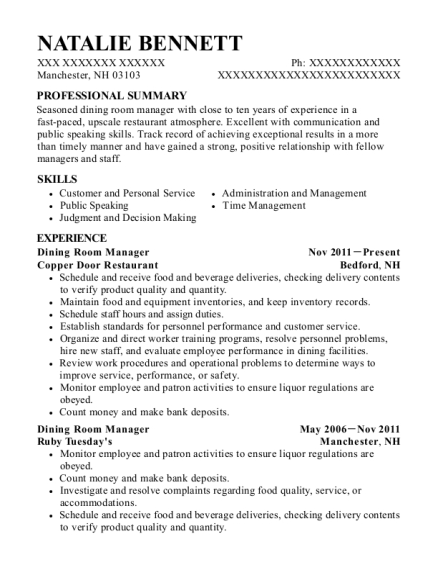 Dining Room Manager resume format New Hampshire