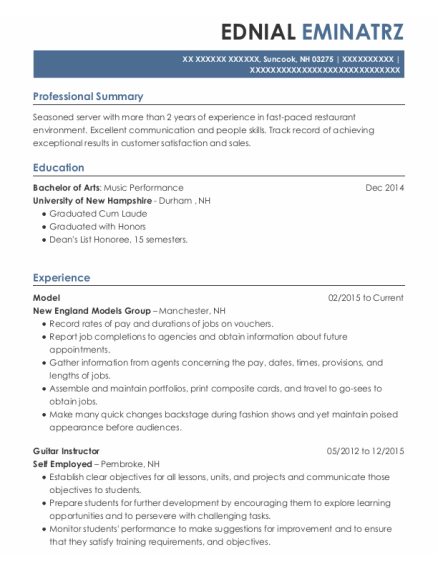 Model resume example New Hampshire