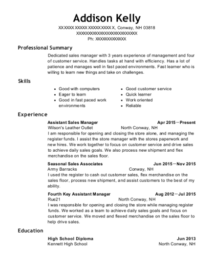 Assistant Sales Manager resume sample New Hampshire