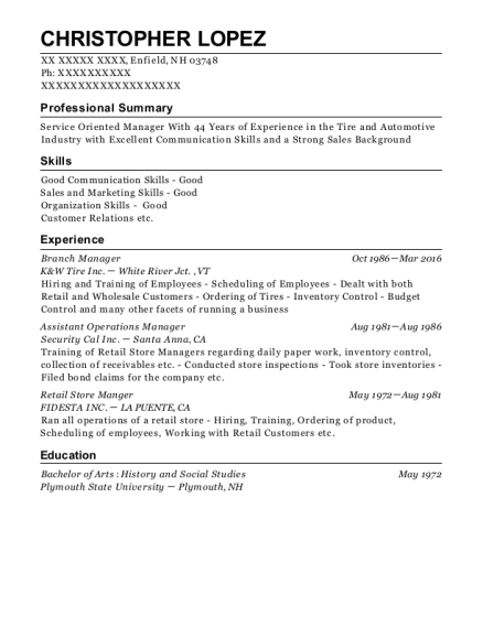Branch Manager resume format New Hampshire