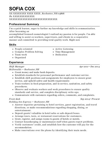 Shift Manager resume format New Hampshire