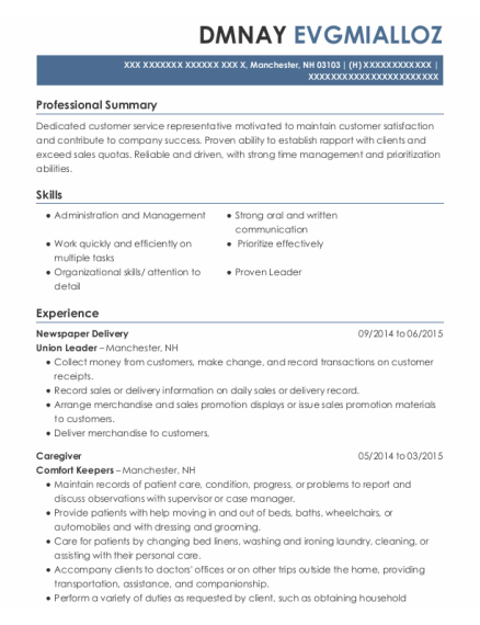 Newspaper Delivery resume template New Hampshire