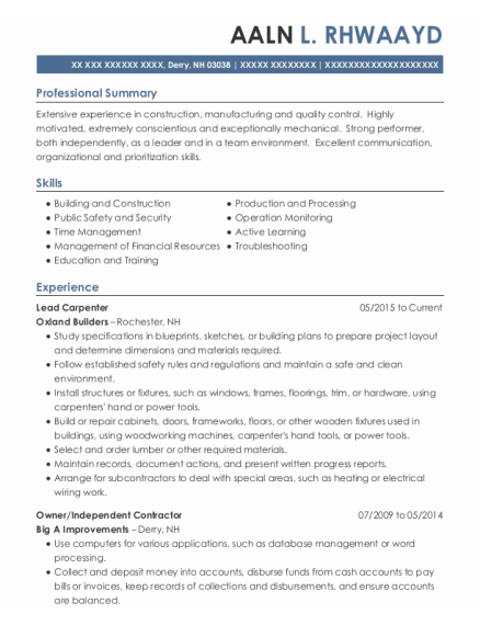 Lead Carpenter resume template New Hampshire