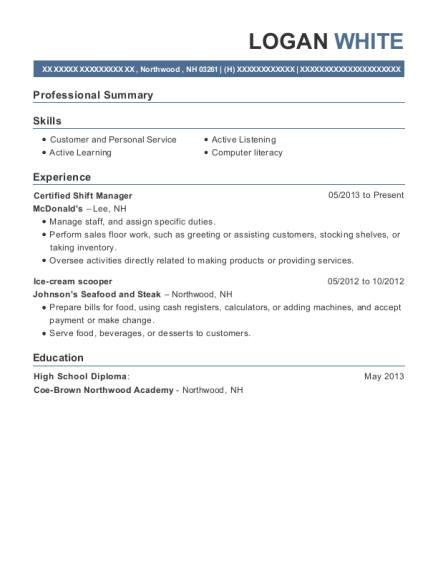 Certified Shift Manager resume template New Hampshire